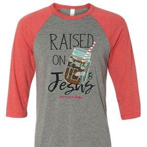 """Southernology """"Sweet Tea & Jesus"""" Raglan Shirt"""